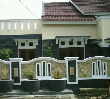 contoh gambar pagar rumah minimalis modern alam batu kayu modern