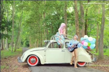 prewedding vintage hijab