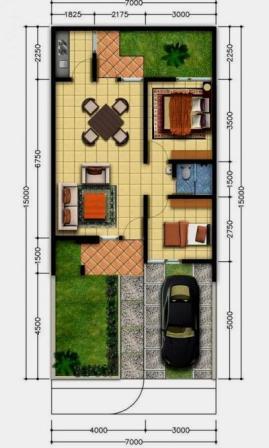 Denah Rumah Type 36 Minimalis Sederhana 3D 14 | HamilPlus.Com 2021