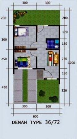 Denah Rumah Type 36 Minimalis Sederhana 3D 16 | HamilPlus.Com 2021