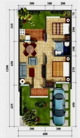 Denah Rumah Type 36 Minimalis Sederhana 3D 18 | HamilPlus.Com 2021