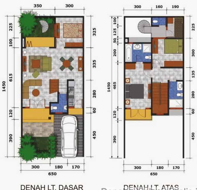 Denah Rumah Type 36 Minimalis Sederhana 3D 2 lantai modern