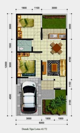 Denah Rumah Type 36 Minimalis Sederhana 3D 9 | HamilPlus.Com 2021