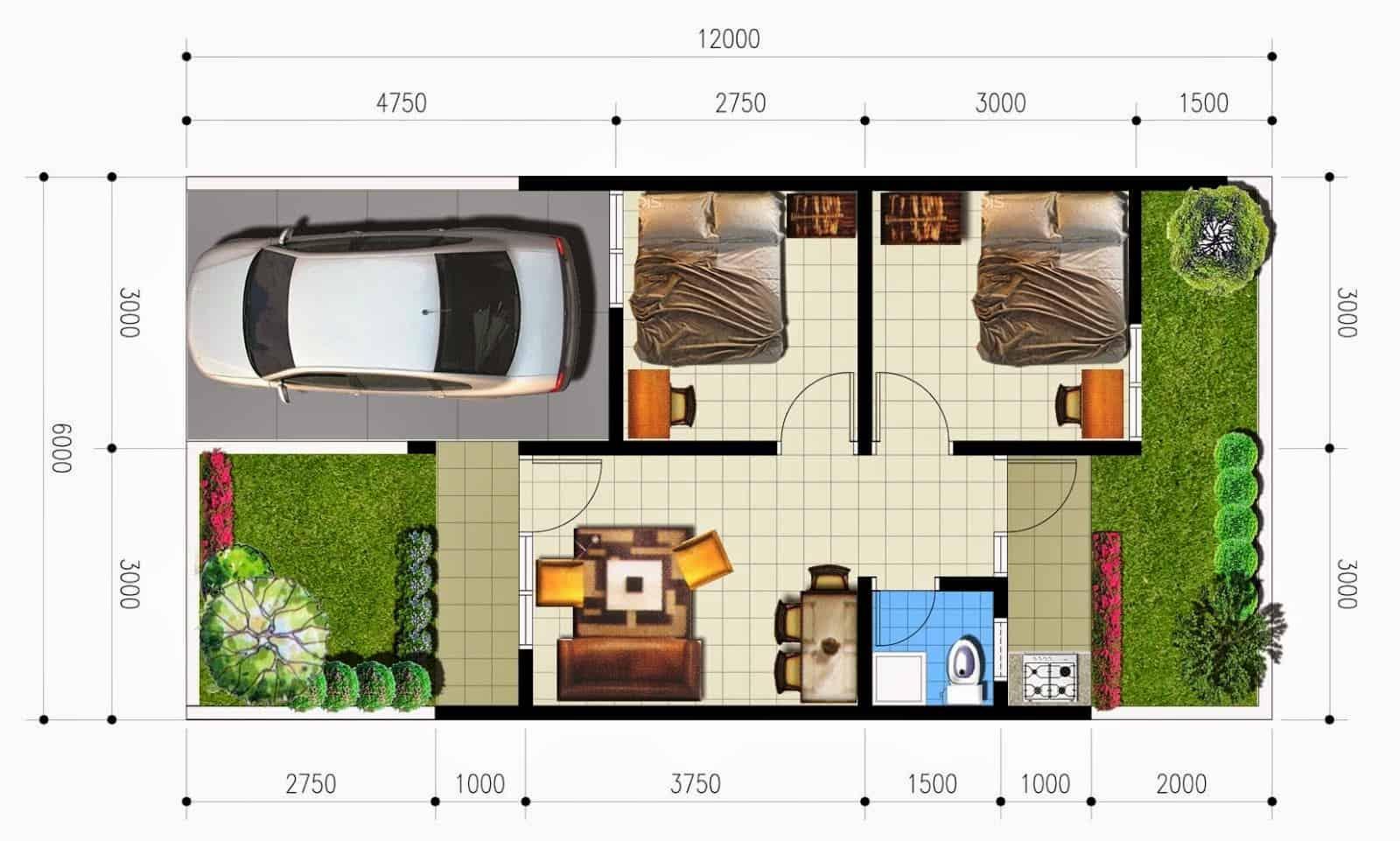 Desain Rumah Minimalis Type 36/72 yang Sejuk, Asri dan ...