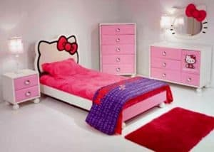 dsain kamar tidur anak perempuan modern terbaru hello kitty