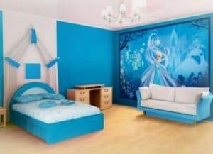 dsain kamar tidur anak perempuan modern terbaru hello kitty biru
