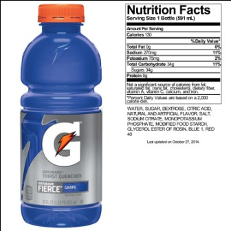 Gatorade Nutrition Label Gatorade Nutrition Label Gatorade Nutrition Label