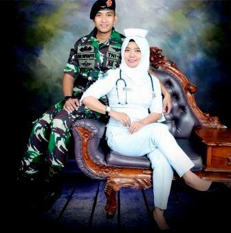 ide foto prewedding ala TNI tentara TNI AD dengan suster perawat dokter