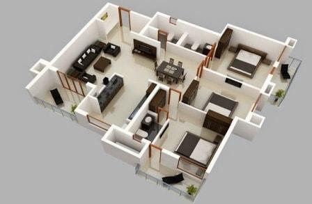 rumah minimalis 1 lantai 3 kamar tidur