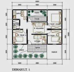 Desain rumah sederhana type 45 3 kamar tidur garasi