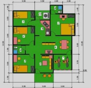 Denah Rumah Minimalis Type 45 2017 2018 terbaik