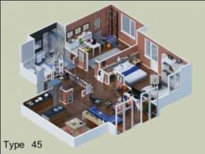 Denah Rumah Minimalis Type 45 4 | HamilPlus.Com 2021