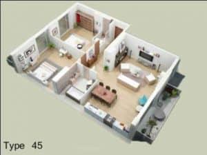 Denah Rumah Minimalis Type 45 3D 3 dimensi