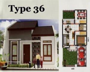 Denah rumah type 36 minimalis sederhana tampak depan
