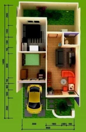 Denah Rumah Type 36 Minimalis Sederhana 3D 12 | HamilPlus.Com 2021
