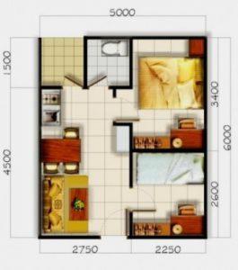 Denah rumah type 36 minimalis sederhana ruang tamu ruang makan menyatu
