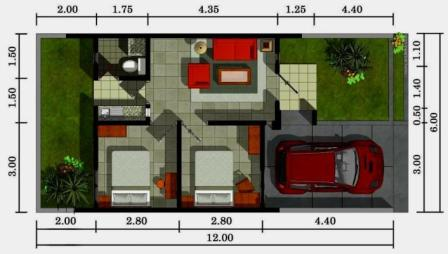 Denah Rumah Type 36 Minimalis Sederhana 3D 19 | HamilPlus.Com 2021