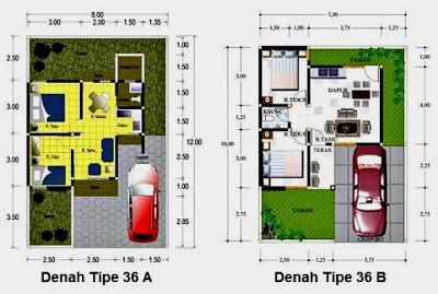 Denah rumah type 36 minimalis sederhana versi pengembangan