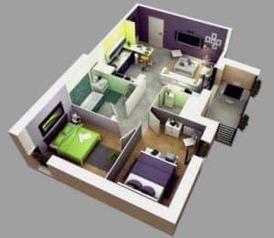Denah rumah type 36 minimalis sederhana 3d 3 dimensi