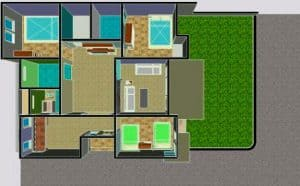 Denah rumah type 36 minimalis sederhana ada taman di samping rumah untuk jemuran