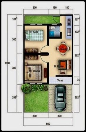 Denah rumah type 36 minimalis sederhana 2 kamar garasi