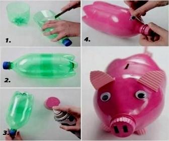Cara Membuat Celengan dari Botol plastik bentuk babi
